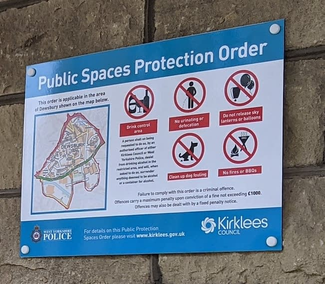 photo of PSPO sign in Dewsbury