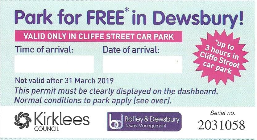 photo of a ticket for free parking in Dewsbury
