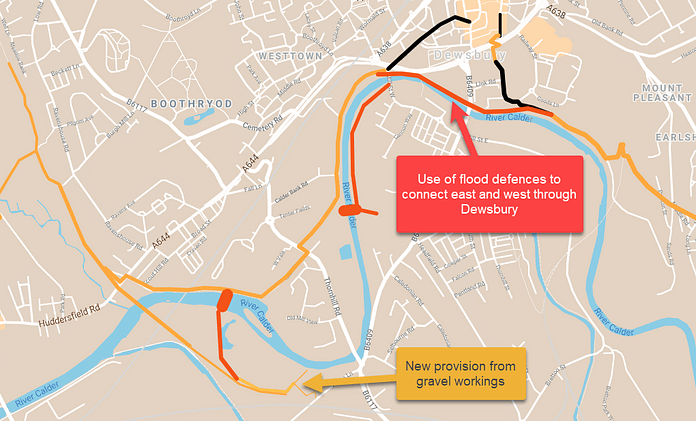 map showing how Dewsbury Riverside Way can connect cyclists across Dewsbury