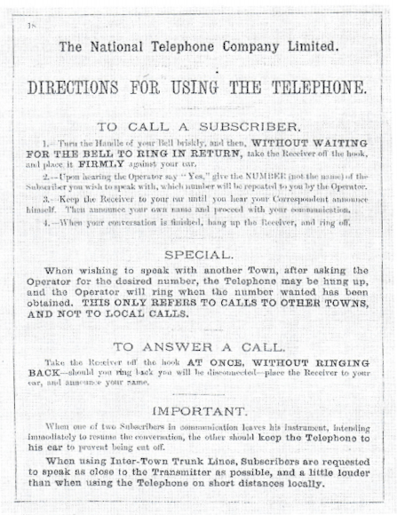 old poster giving Directions for using the Phone in Dewsbury
