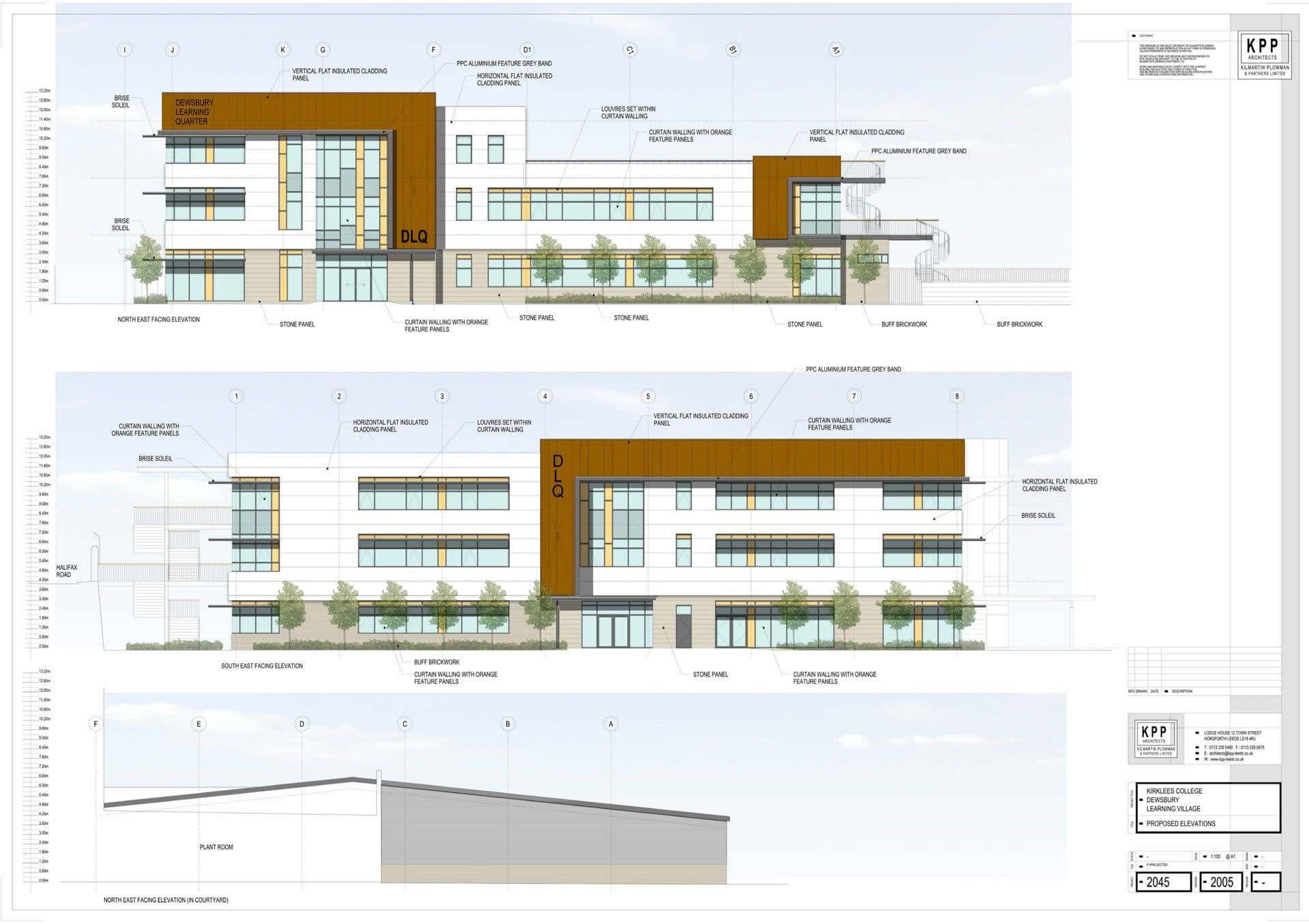 Architects drawing of proposed elevations of student college in Dewsbury