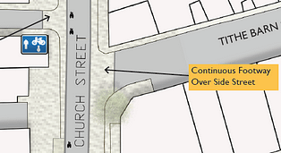 illustration of continuous footway crossing