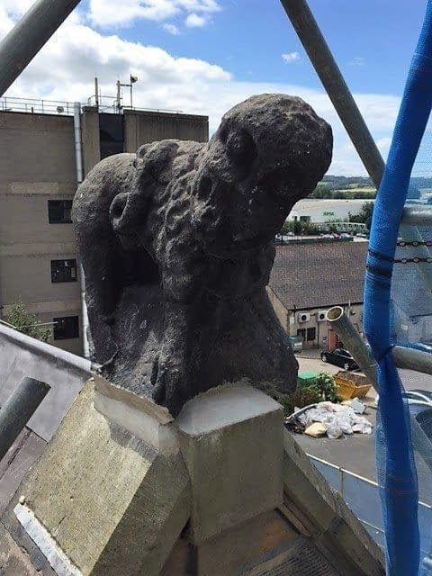 photo of the cleaned up statue of the Pancake Dog in Dewsbury