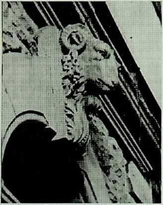 photo of ram carving on 43-45 Bradford Road