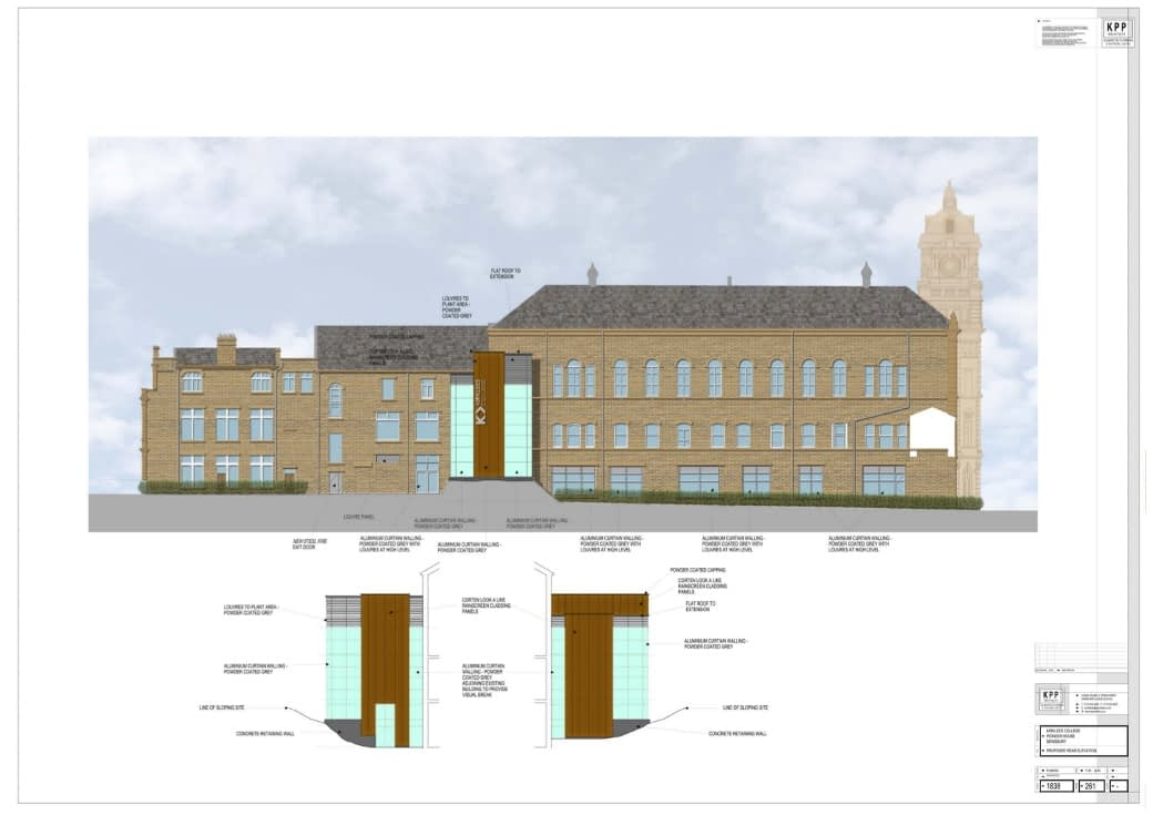 architects impression of the rear elevation of Pioneer House, Dewsbury