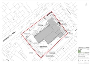 Plan view of the planning application for the old fire station in Huddersfield Road, Dewsbury