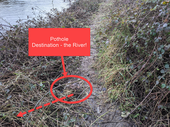 photo of path pushed dangerously close to the river edge by vegetation growth