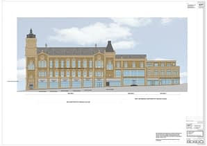 Architects impression of the front elevation of Pioneer House, Dewsbury