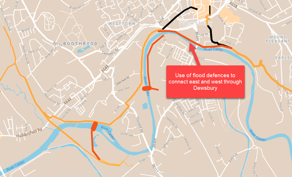 maps showing use of existing Dewsbury flood defences