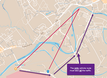 map showing the only vehicle route into Dewsbury