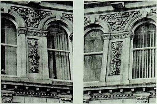 photo of ram carvings on HSBC building Dewsbury
