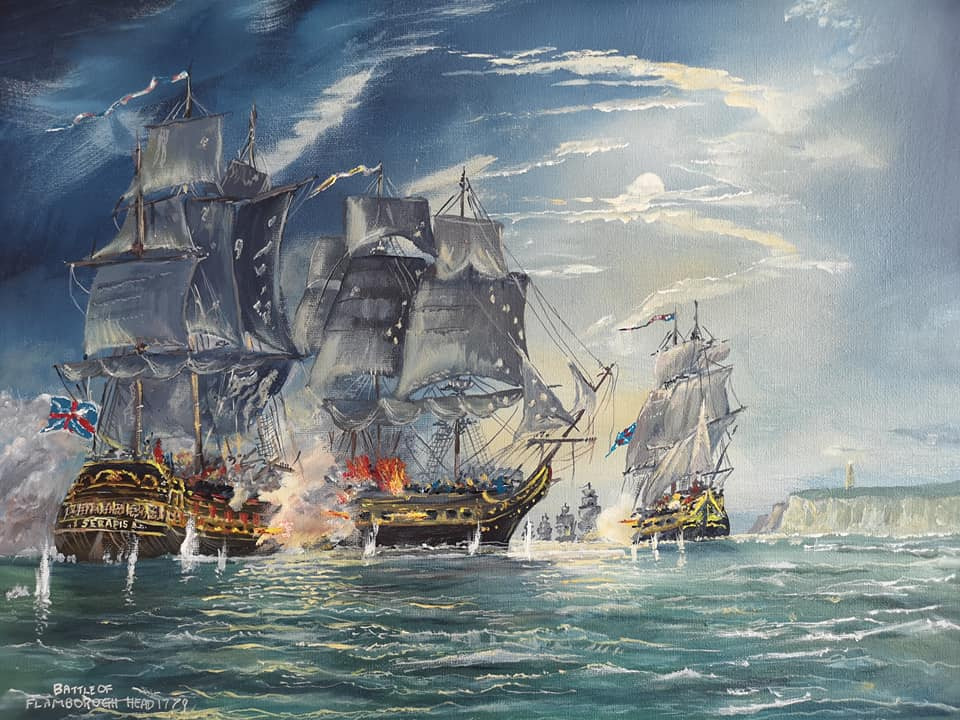 image of Malcolms painting called Battle of Flamborough Head 1779