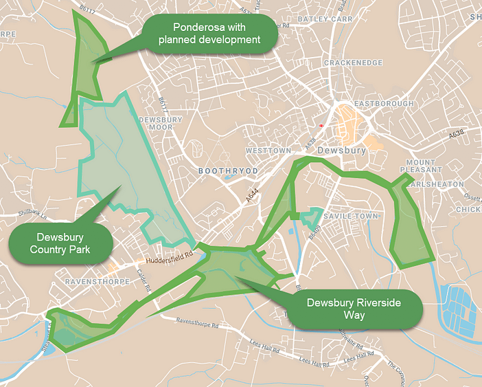 map of proposed Dewsbury Riverside Way