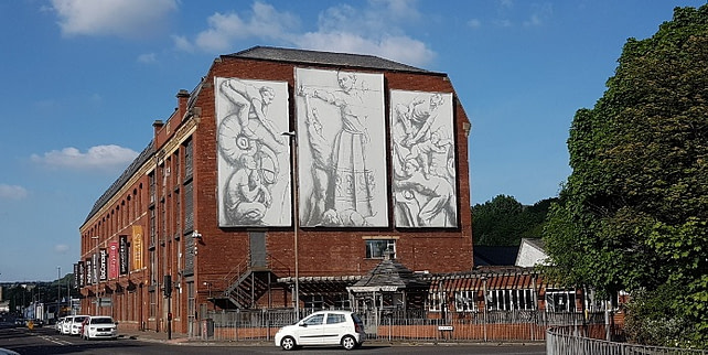 picture of art on the end wall of Redbrick mill near Dewsbury
