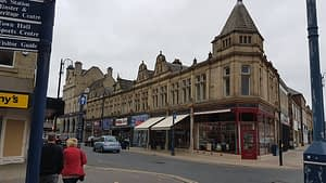 photo of refurbished shops with awnings fitted in Dewsbury
