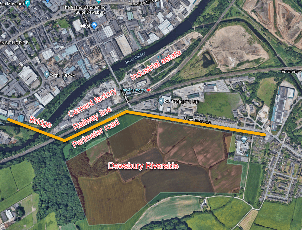 illustration of limited access to the River Calder
