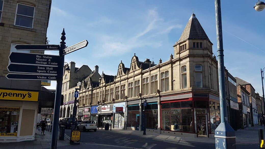 photo of shop fronts in Corporation Street, Dewsbury